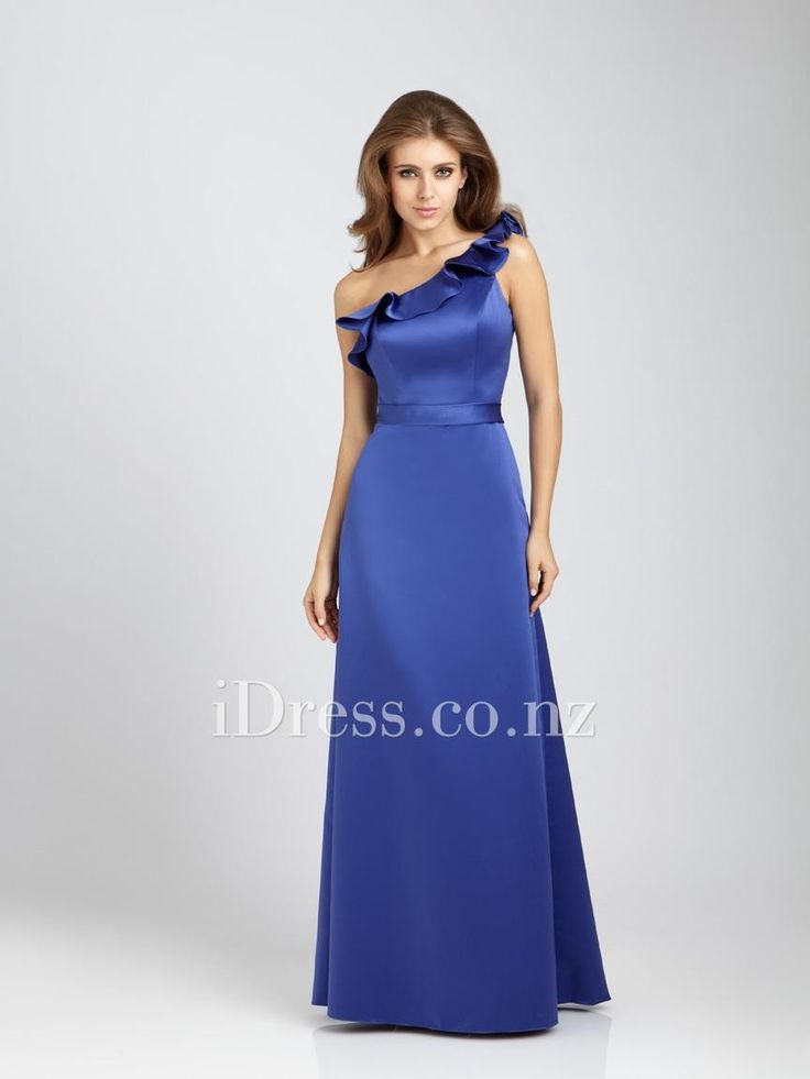 elegant ruffled one-shoulder long royal satin bridesmaid formal gown