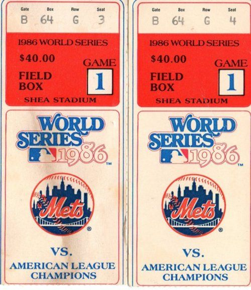 NY Mets, 1986 World Series Tickets.