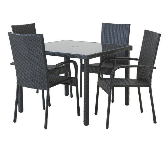 Buy HOME Lima Rattan 4 Set with Cushions - Black at Argos.co.uk · Garden  Table ...
