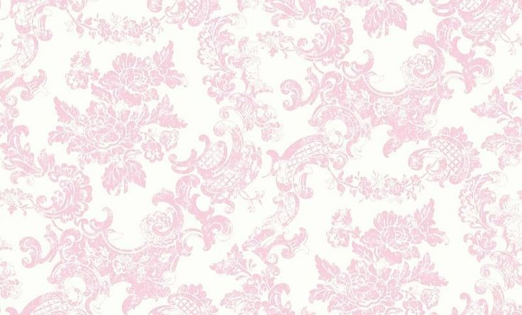Vintage Lace (M0756) - Crown Wallpapers - A delicate lace effect design with a rose motif, creating a subtle vintage look. Shown in the marshmallow pink colourway. Please request sample for true colour match.