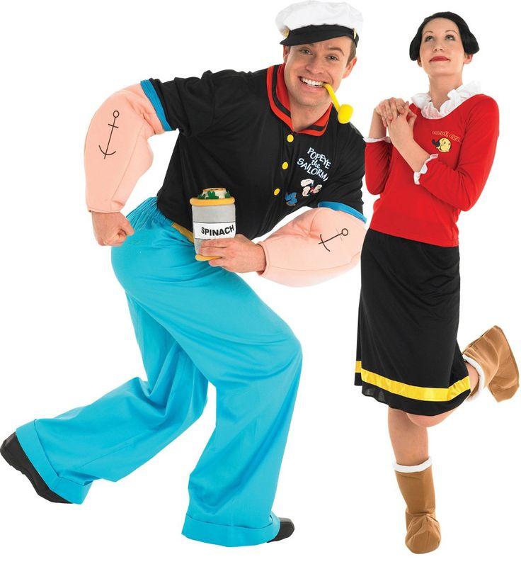 Popeye und Olive™ - Kostüm für Erwachsene: Olive - Kostüm TM für Damen:Dieses Olive- Kostüm TM für Damen besteht aus 4 Teilen: Das rote Oberteil mit einem weißen Froufrou-Band hat 5 Klettverschlüsse am...