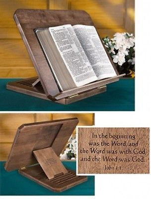 Hand Crafted Multi Level Adjustable Bible Stand, Maple with Inscription