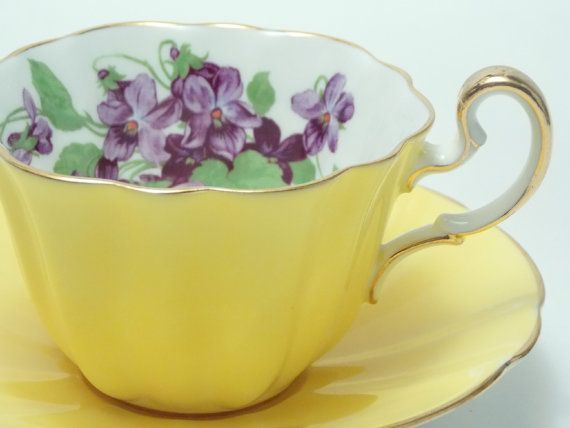 Adderley Yellow Ground Purple Flower Vintage Fine Bone China Tea Cup and Saucer Made in England