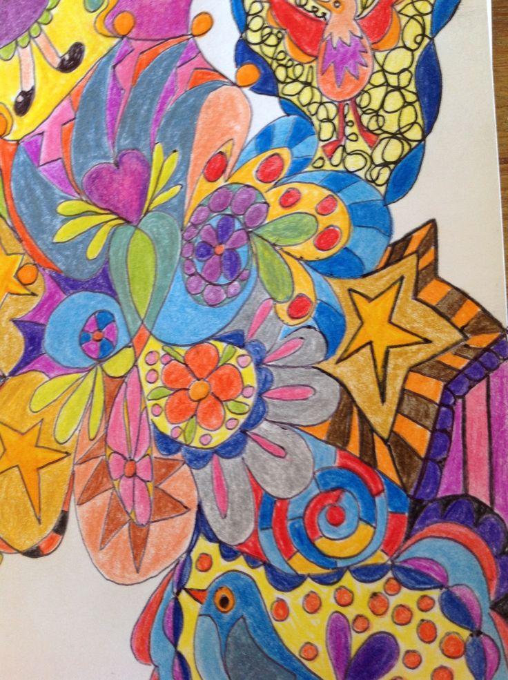 doodling, coloured pencil, felt pen