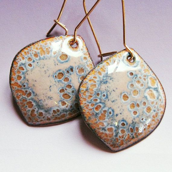 Gold, tan and gray drop earrings, small lightweight leaf dangle earrings, enamel artisan jewelry gold wires