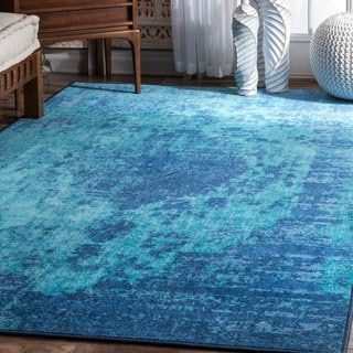 nuLoom Vintage Inspired Shrouded Mist Oasis Blue Nylon Rug (8' x 10')