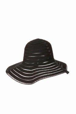 Capeline noire Massimo Dutti - Accessoires de mode, accessoires été 2007, Tendances été 2007, Chapeaux, bijoux, lunettes, sacs - Si l'idée d'incarner une héroïne des années soixante vous séduisait, vous allez être comblée. Cette capeline souple à rayures larges sur fond transparent noir vous permettra de vous afficher avec élégance...