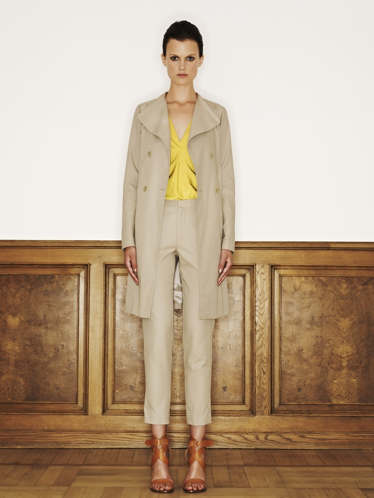 Rützou cotton rayon linen jacket with pockets in beige mist, polyester top in electric yellow and cotton rayon linen pants in beige mist with pockets