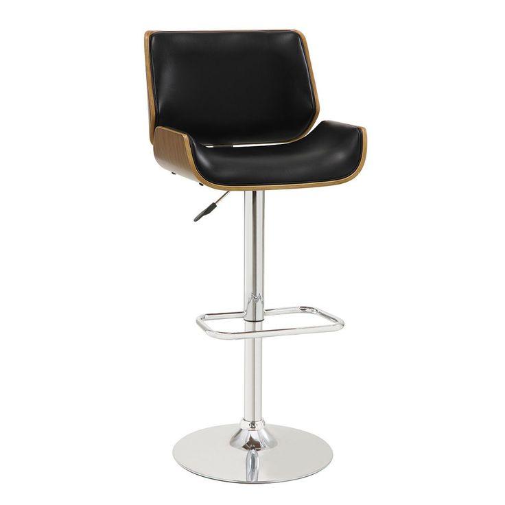 Coaster Company Faux Leather Walnut Adjustable Bar Stool (Black)
