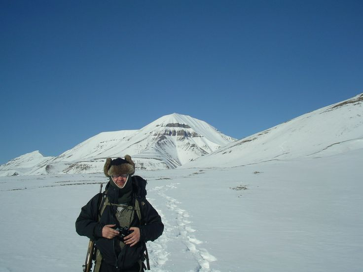 This is April 2014 in Longyearbyen snowshoe-hiking.