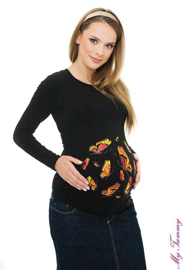Maternity blouse Butterflies Glitter