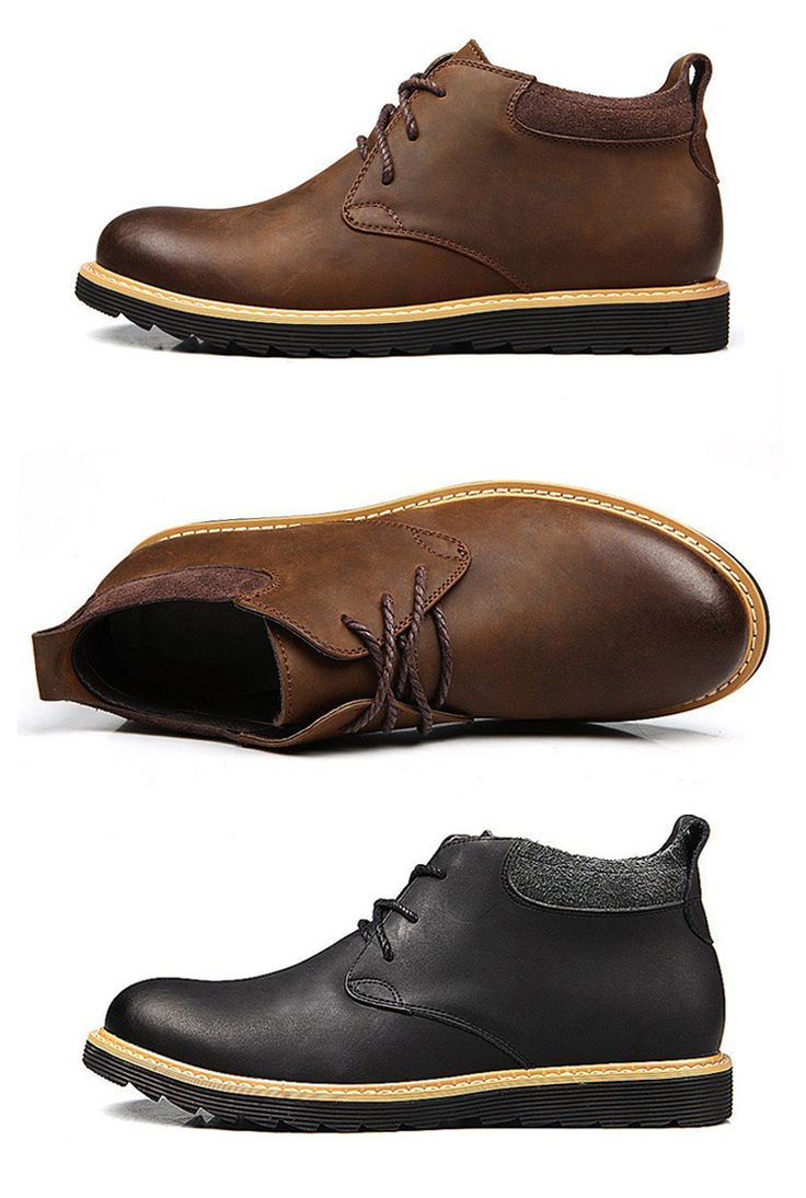 Men Retro Leather High Top British Style Work Casual Ankle Boots