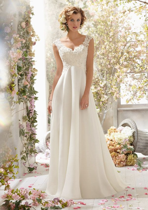 Informal Wedding Dress From Voyage By Mori Lee Dress Style 6778 Alençon Lace on Delicate Chiffon- Detachable Back Cowl