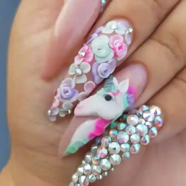 Best 25 3d nail designs ideas on pinterest nail crystal designs pastel unicorn flower gemstone stiletto nails by prinsesfo Image collections