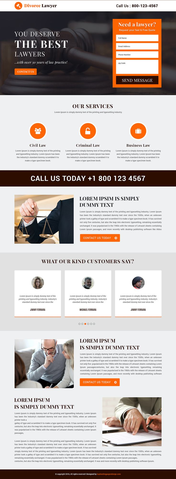 Responsive Divorce Lawyer Landing Page Template $29 only BuyNow!