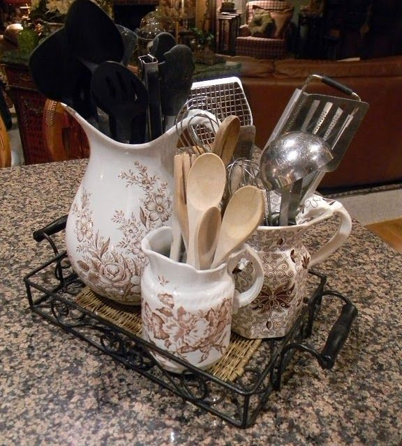 What a GREAT way to live with your brown transferware .... use it to store utensils in the kitchen.  So simple ... (why didn't I think of that sooner??)  :)