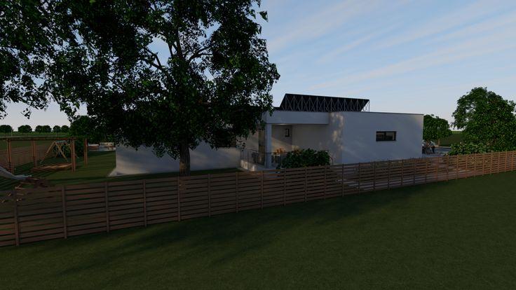 Modern, 5 szobás, 229 m2-es földszintes családi ház mintaterve, alaprajzzal Az északi homlokzat.