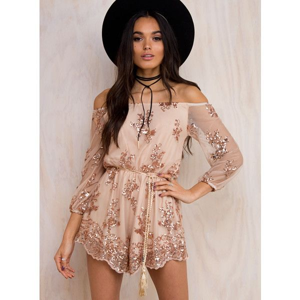 Crystalised Off The Shoulder Sequin Playsuit ($69) ❤ liked on Polyvore featuring jumpsuits, rompers, gold, gold sequin romper, gold romper, playsuit romper, sequin rompers and off shoulder romper