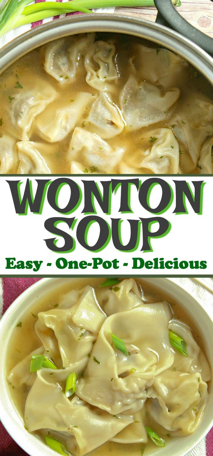 Jul 8, 2020 – This homemade one-pot EASY WONTON SOUP is filled with a juicy pork and shrimp filling. It's a simple yet c…