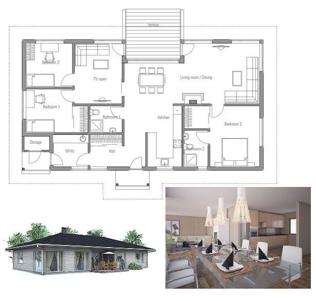 Small affordable house plan, three bedrooms, open planning, logical floor layout. Floor Plan.