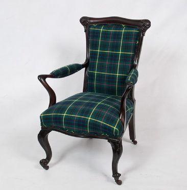 Petite Art Nouveau Armchair Custom Upholstered In Tartan.