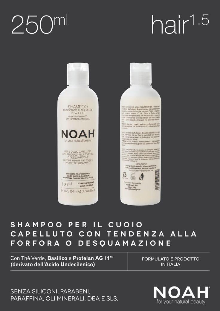 NOAH Shampoo #capelli adatto a chi ha il cuoio capelluto con tendenza alla #forfora o desquamazione. Senza siliconi, parabeni, paraffina, oli minerali, DEA e SLS. €.5.95