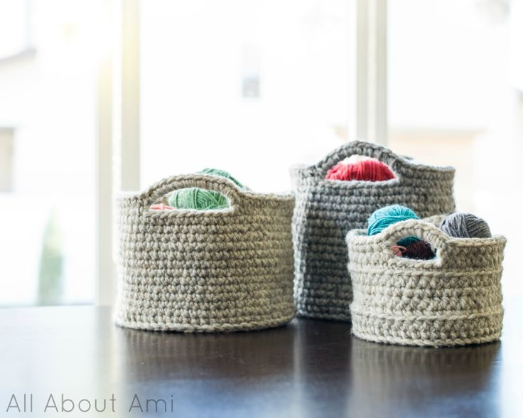 Crocheted Baskets of Different Sizes, perfect for chic storage around the home!