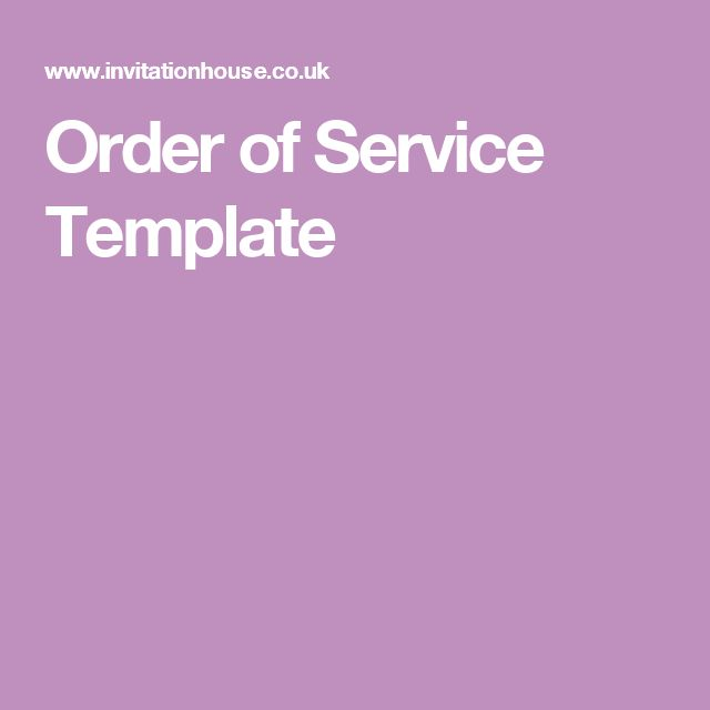 Order Of Service Template