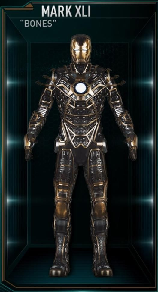 "The Mark 41 (Mark XLI), also known by its name as ""Bones"", is a Skeleton Suit, and was one of several new Iron Man Armors created by Tony Stark as part of..."