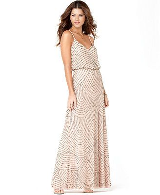 Adrianna Papell Dress, Sleeveless Spaghetti Strap Beaded Blouson Evening Gown. Macy's. OBSESSED. I might order it for myself. on sale for $230
