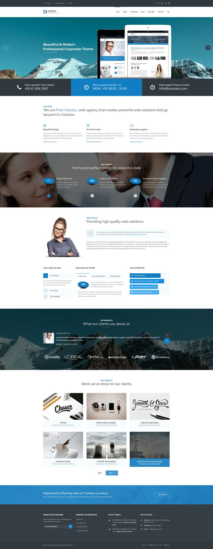 Our brand new corporate PSD template! Let us know your thoughts :)  Demo: http://themeforest.net/theme_previews/8722701-mixed-psd-for-any-business?url_name=mixed-psd-for-any-business?ref=pixel-industry