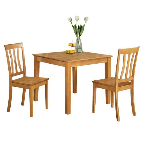 Oak Square Kitchen Table and 2 Chairs 3-piece Dining Set                                                                                                                                                     More