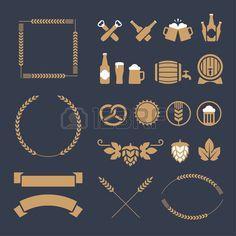 Set van oker bier pictogrammen tekens en design elementen voor banner poster het etiket of embleem o Stockfoto