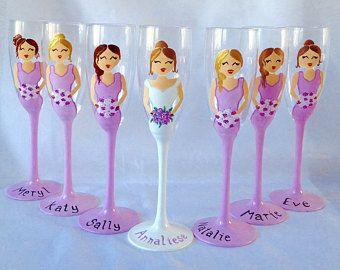 Hochzeit Gläser / Gläser bemalt / Hochzeitsgeschenk / Braut / Champagner Flöte / Wein Glas / Unikat / personalisierte / Hochzeit Gläser / Brautjungfern