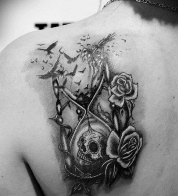 Sometimes hourglass symbolizes death. In many pictures death holds an hourglass in his hand.