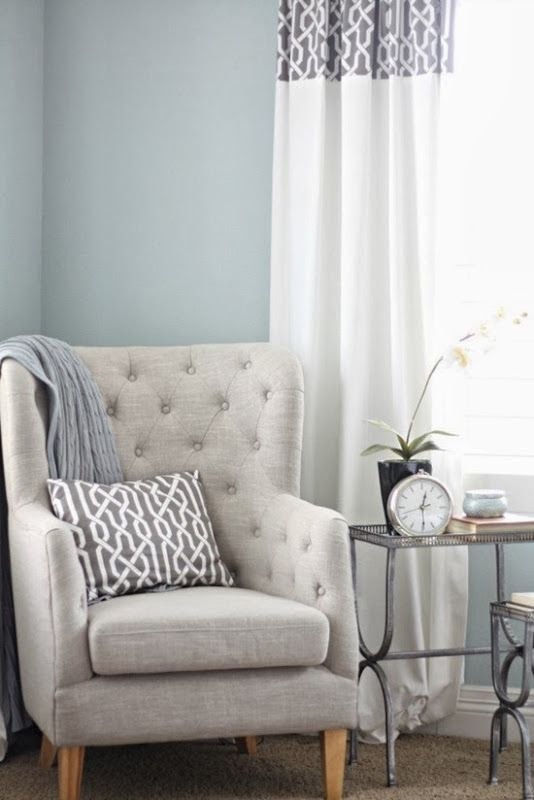 Wall paint color is Smoke from Benjamin Moore. A Thoughtful Place