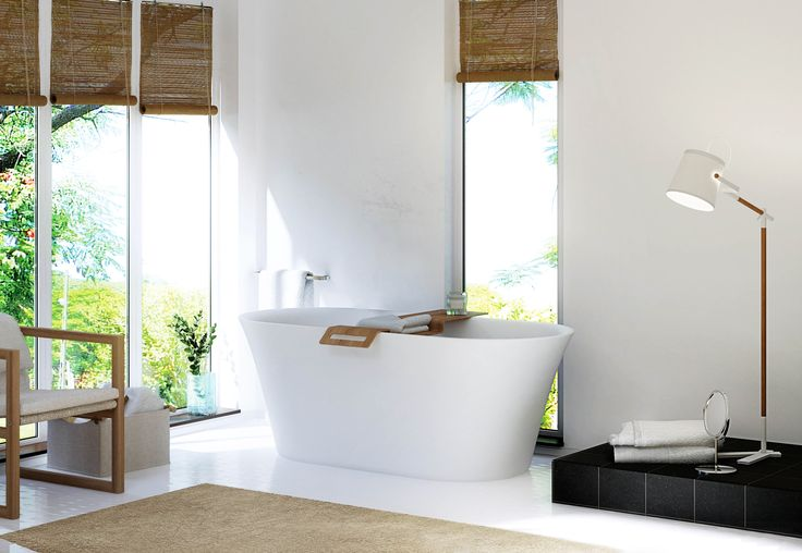 We love the elegant sculptured design of the Silkstone Fjord Bath, which is complimented perfectly by our Fjord Basin. Our Silkstone Baths feature dual wall design for comfortable interior shape and are covered by a 25 year warranty.  #faucetstrommen #silkstone #bathroom #freestandingbath