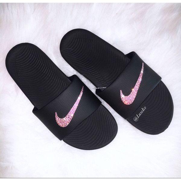 Nike KAWA Slides Black Flip Flops customized with Swarovski Crystals ( 65)  ❤ liked on 5e27526d63e8