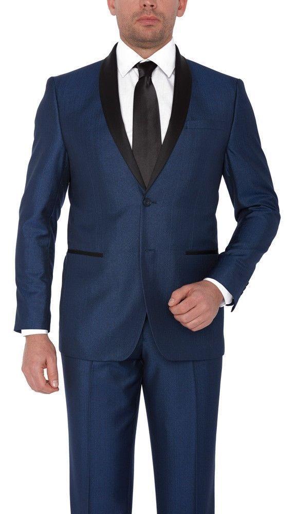 medium Blue Tuxedo Shawl Collar lapel Platinum By Eleganza Slim fit  tuxedo  #Eleganza505 #Tuxedo