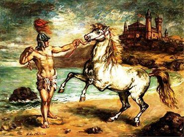 Giorgio de Chirico - Guerriero reggente un cavallo alla briglia, c. 1953