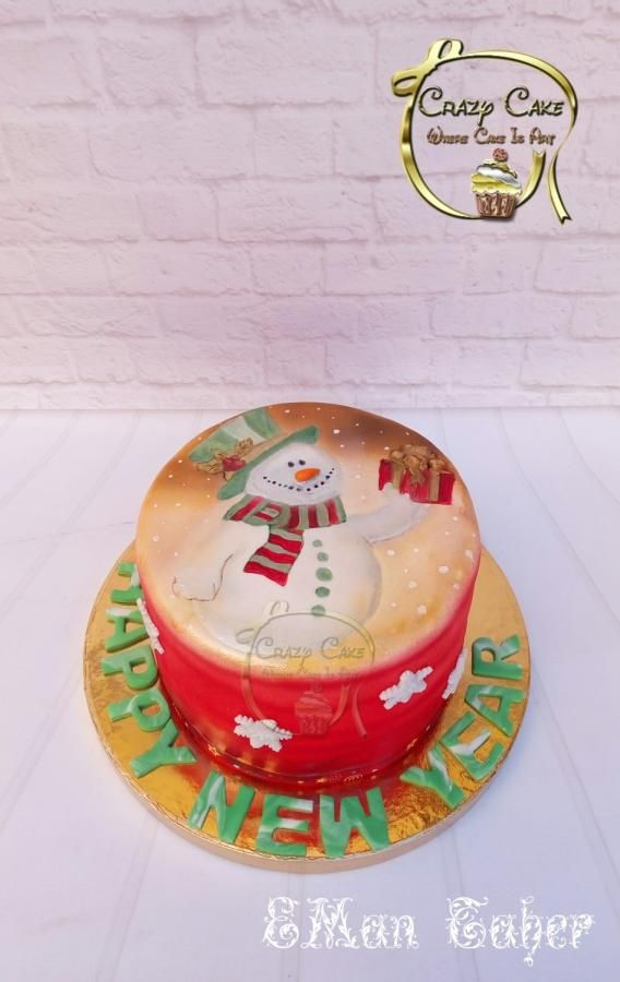 Snow man Painted cake by Eman
