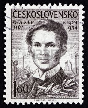CZECHOSLOVAKIA - CIRCA 1954: a stamp printed in the Czechoslovakia shows Jiri Wolker, Poet, Journalist and Playwright, circa 1954 photo