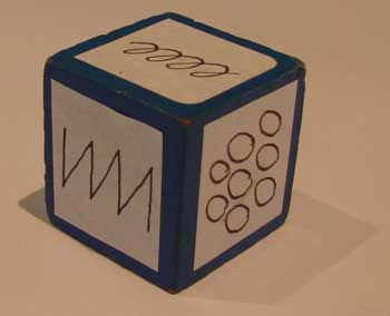 Doodle dice activity. Roll a dice with different 'doodles'. You then draw a similar doodle on paper in any size or position.
