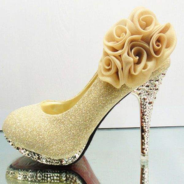 Latest Flower Embellished Round Closed Toe Super High Stiletto Yellow PU Wedding Shoes