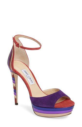 Jimmy Choo Woman Kathleen Metallic-trimmed Suede Platform Sandals Indigo Size 39 Jimmy Choo London 2LnnV1sSnJ