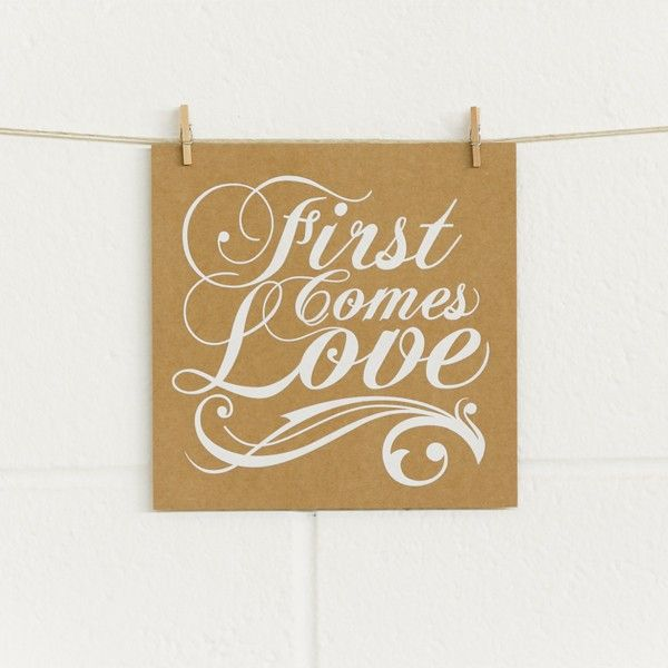 DIYme, First Comes Love, White Foil on Kraft (10 pack), Alex Mae