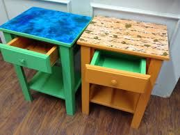 Using colour contrast on the top and for the inside of the drawers will help to locate the top of the tables and insides for those with poor eyesight and demention.  The patterns may not be suitable for those with dementia