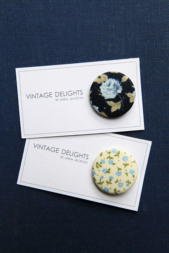Blue Floral Fabric Badges by VintageDelightsShop on Etsy, £2.00