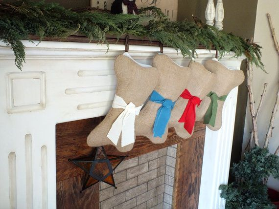 DOG CHRISTMAS STOCKINGS Bone Shapes Are by TiddlywinkDesign  Puppy needs a stocking too!