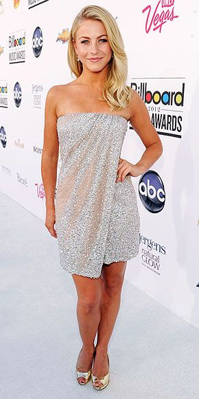 Julianne Hough in strapless draped sequined KaufmanFranco mini dress at Billboard Music Awards